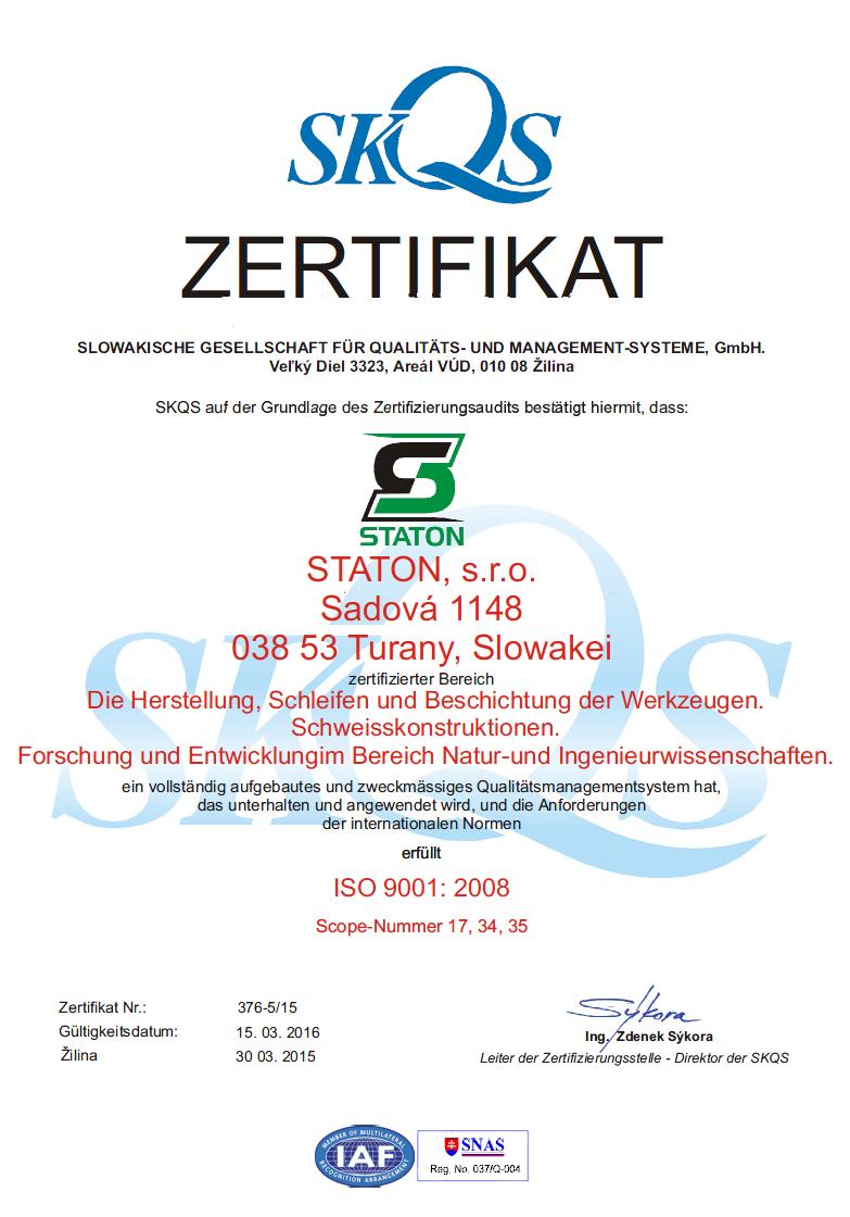 certifikátu kvality SKQS - DE