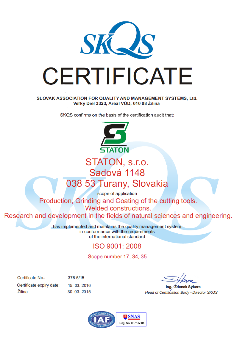 certifikátu kvality SKQS - UK